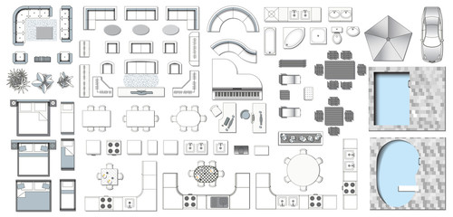 Set top view for interior icon 