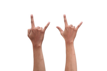 Rock and Roll hand sign isolated on white background