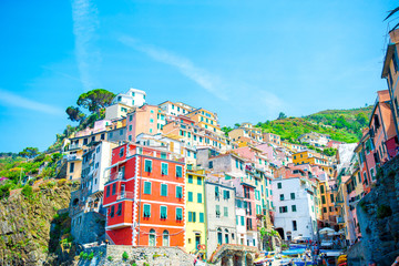 View on architecture of old italian village Riomaggiore is one of the most popular old village in Cinque Terre, taly