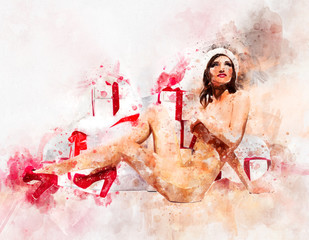 Digital watercolor painting, naked woman posing near gift boxes