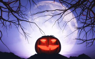 Fototapete - 3D Halloween pumpkin in moonlit landscape