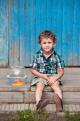 Little boy with aquarium decorative fish