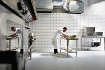 Male Chef Cooking In Commercial Kitchen