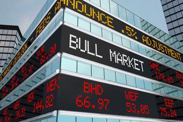 Bull Market Stock Ticker Building Wall Street 3d Illustration