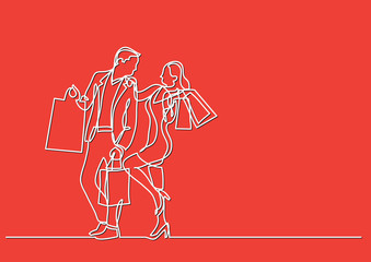 continuous line drawing of man and woman shopping with bags