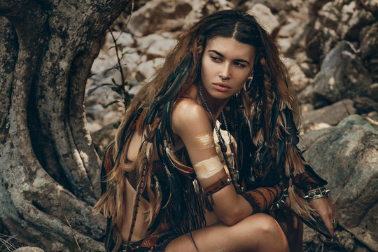 wild amazon woman in forest