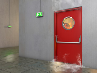 Fire prevention door, 3D Illustration