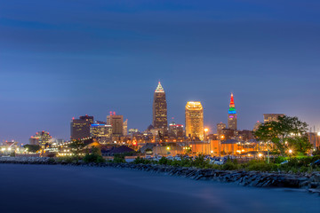 City of Cleveland at Dusk with Lake Erie