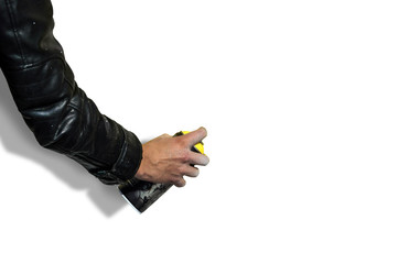 graffiti spray can in hand isolated