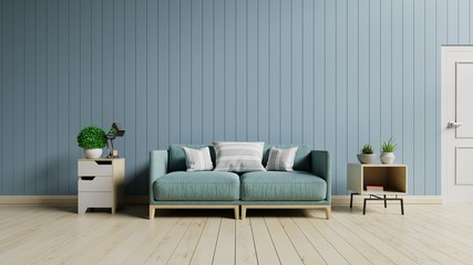 The modern interior of Living room and Soft Sofa on wall blue,3d rendering