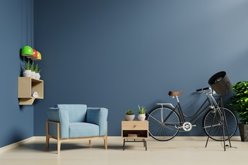Spacious blue living room have blue armchair,bike in decorate interior,3D rendering.