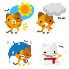ネコとーく。三毛猫+天気予報