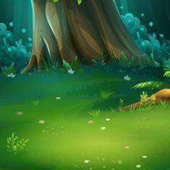 Vector cartoon illustration of background forest glade