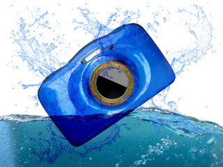 waterproof compact digital camera splashing into water