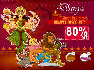 Goddess Durga for Happy Dussehra sale and promotion advertisement background
