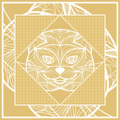 Design Pillow with Cat Face. Geometric Pattern with hand-drawing lace ornament. Vector illustration. Also For print fabric, textile, bandana, scarg, carpet print. Gold color