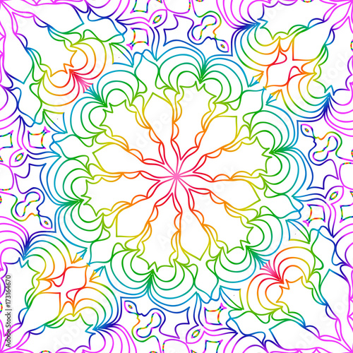 Rainbow Color Seamless Pattern With Decorative Lace Flower