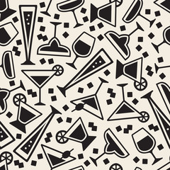seamless monochrome cocktail glasses pattern background