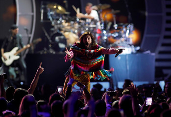 Thirty Seconds To Mars lead singer Jared Leto performs during the iHeartRadio Music Festival at T-Mobile Arena in Las Vegas