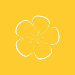 Hand drawn icon of plumeria flower