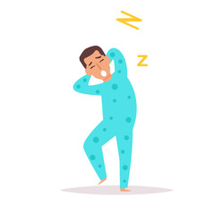 Man yawns and stretches. Vector. Cartoon.