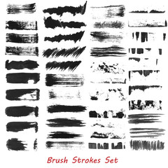 Grungy brush strokes set over white background. Hand drawn grunge. Elements for your work and design. Eps10