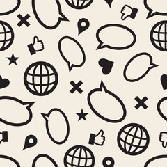 seamless monochrome social media icon pattern background