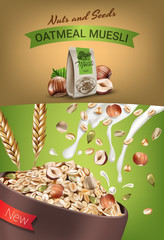 Oatmeal muesli ads. Vector realistic illustration of oatmeal muesli with nuts and seeds.