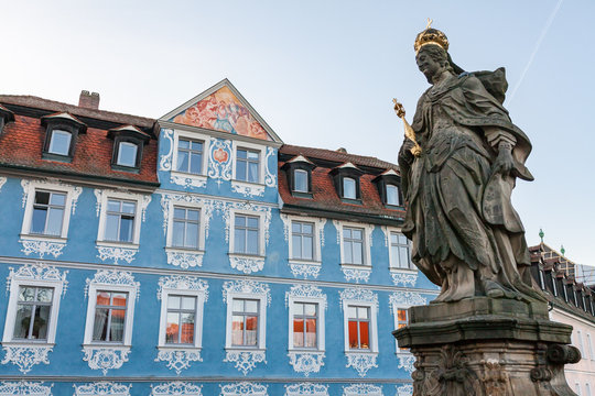 Blue facade of the baroque town hall the German city of Bamberg