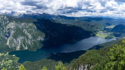 Panorama of the lake Bohinj from the edge of the mountain where Vogel ski resort is located