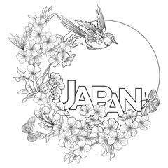Illustrations with Japanese blossom sakura and with place for te