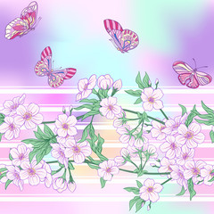 Seamless pattern with Japanese blossom sakura and butterflies. V
