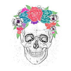 Skull and beautiful flowers. Hand-drawn style.