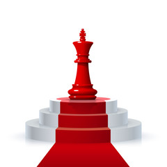 Chess piece of the winner on the podium on the white background . Vector illustration