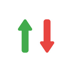 Flat design style vector concept of two arrows pointing up and down