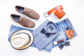 Fashion and beauty concept, Men's casual clothes outfits and accessories on white background