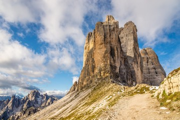 View at the Forcella Lavaredo with Tre Cime Mountains in Dolomites, Italy