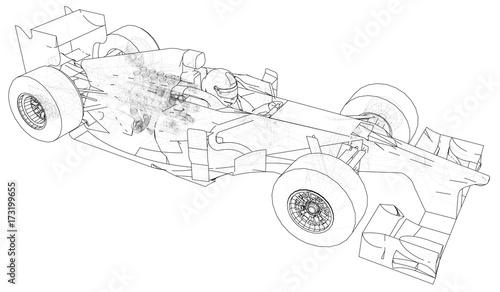 Racing car. Wire-frame. EPS10 format. Vector rendering of 3d\