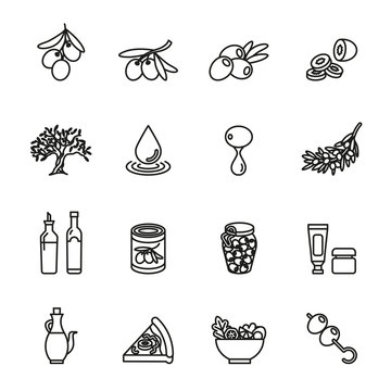 Olive oil, olive branch icons set.  thin line design. linear symbols collection.