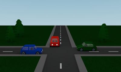 Kreuzung mit roten, grünen und blauen Auto