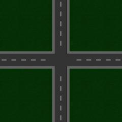 leere Straßenkreuzung. Ansicht von oben.