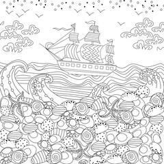 sea landscape for coloring book