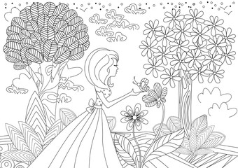 Fototapete - pretty girl with butterfly. coloring book page
