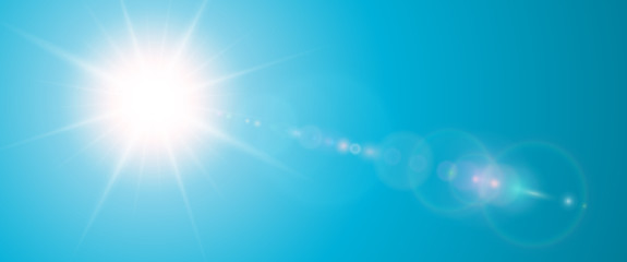 Sunny background, blue sun with lens flare