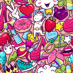 Graffiti seamless pattern with girlish style doodles. Vector background with childish girl power crazy elements. Trendy linear style collage with bizarre street art icons.