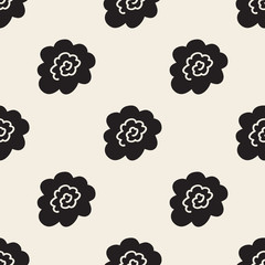 seamless abstarct monochrome hand drawn flower pattern background