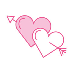 two love hearts romantic cupid valentine image vector illustration