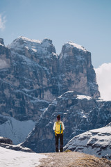 Tourist standing in mountains