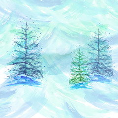 Watercolor background, light blue with the image of firs, pines, snow. Christmas card, card with a vintage pattern.