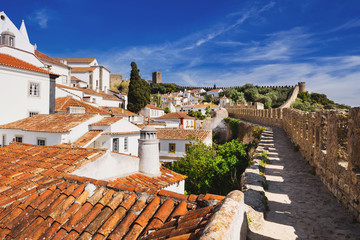 Obidos, Portugal. Beautiful view of old town